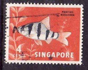 Singapore-Sc#54-used 4c red orange & black-Fish-1962-