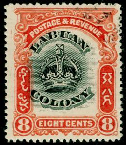 LABUAN SG121a, 8c black & vermilion, M MINT. P.14½