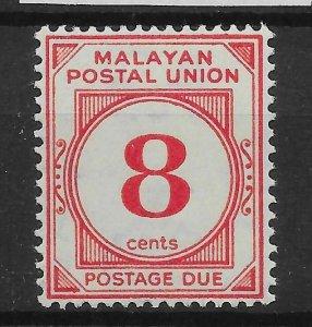 MALAYAN POSTAL UNION SGD3 1936 8c SCARLET POSTAGE DUE MTD MINT