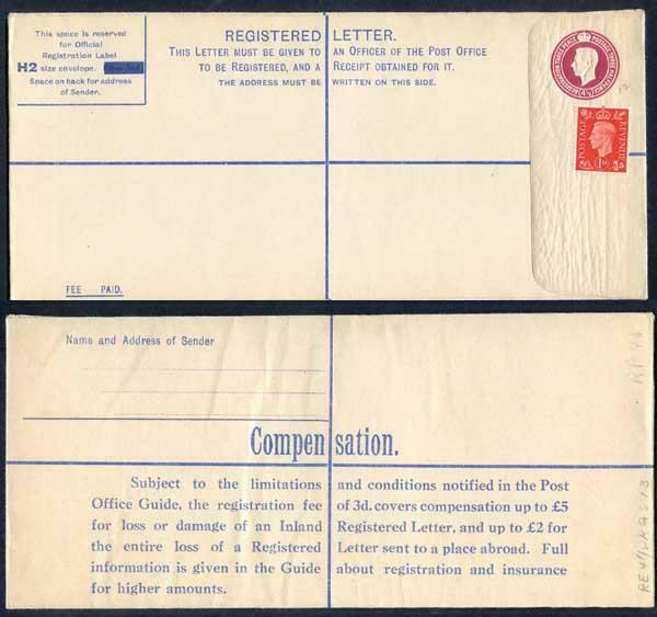 RP50 KGVI 4 1/2d Registered Envelope Size H2 Compensation on Back Value Deleted