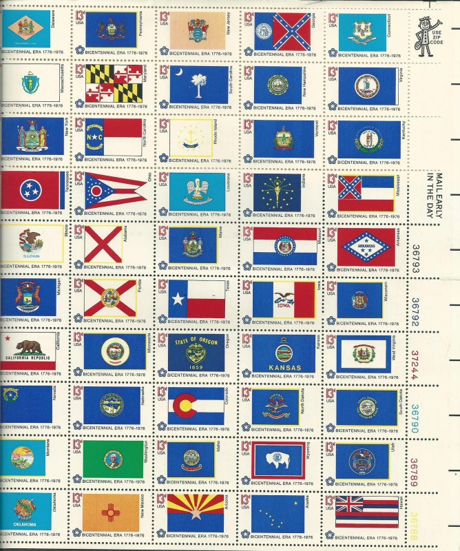United States Scott Catalog Number 1682a Sheet of 50 State Flags MNH