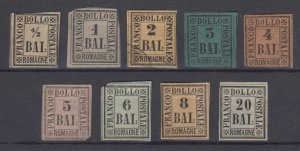ITALY ROMAGNA 1859 Sc 1-9 FULL SET OF FORGERIES UNUSED & USED (CV$1,842)