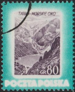POLOGNE / POLAND - 1953 - Mi.828A 0,80gr. Lake Morskie Oko, Tatra Nat'l Park VFU