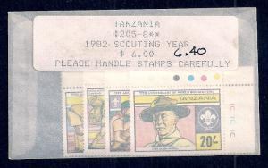 TANZANIA Sc#205/208 Mint Never Hinged Complete Set