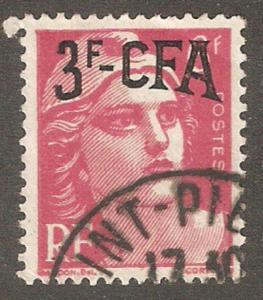Reunion Is 1949 CFA,3fr on 6fr,Sc 275,VF USED (R-11)