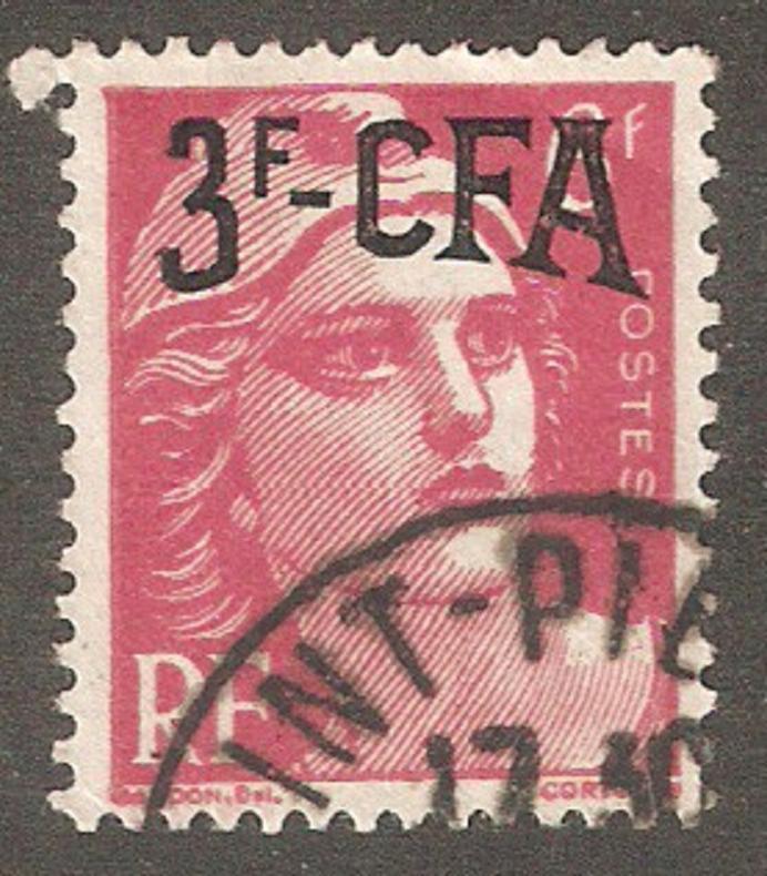 Reunion Is 1949 CFA,3fr on 6fr,Sc 275,VF USED (R-11)
