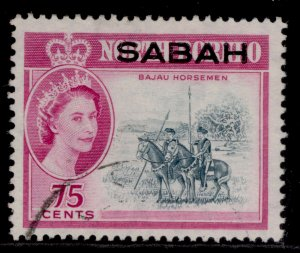 MALAYSIA - Sabah QEII SG419, 75c grey-blue & bright purple, FINE USED.