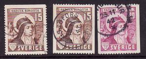 Sweden:SC#326-28-used set-St. Bridget of Sweden-cv $11.15