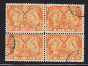Canada Sc 51 used block of 4, 1897 1c Jubilee, Scarce