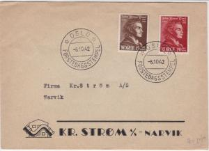 Norway 1942 House & Drain Picture Oslo Star Cancels Two Stamps Cover Ref 25698