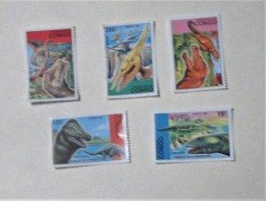 Congo - 1043-47, MNH Set. Prehistoric Creatures. SCV - $12.70