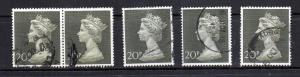 Great Britain MH 166 Five used copies