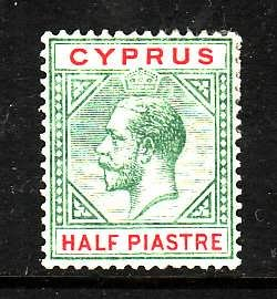 Cyprus-Sc#62- id2-unused hinged 1/2pi grn & car rose KGV-1912-