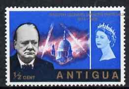 Antigua 1966 Churchill Commem 1/2c with superb 15mm shift...