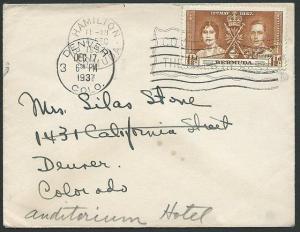 BERMUDA 1937 cover Hamilton to Denver - 2½d Coronation.....................42488