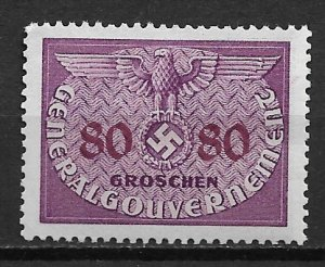 1940 German Occupied Poland NO12 80gr Official MNH