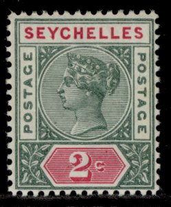SEYCHELLES QV SG9, 2c green & rosine, M MINT.