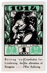 (I.B) US Cinderella : German War Charity 1c (1914) God With Us