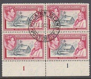 PITCAIRN 1940 GVI 1½d plate block of 4 fine used...........................29962