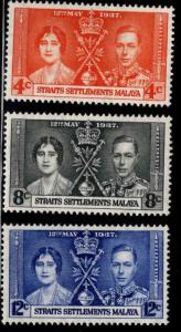 Straits Settlements Malaya Scott 235-237 MH* 1937 set