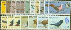 Mauritius 1965-67 Birds Extended set of 18 SF317-331, 340-341 V.F Lightly Mtd Mi