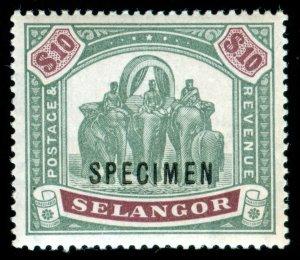 MOMEN: MALAYA SELANGOR SG #65s SPECIMEN 1895-9 MINT OG NH LOT #60289