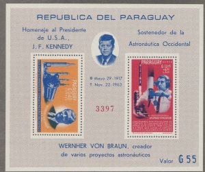 Paraguay # 841a, John F. Kennedy, Space Achievements, perf, NH, 1/2 Cat.