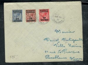 MOROCCO COVER (PP2912B) 1931  KGV 3 STAMPS ON COVER CASABLANCA  LOCAL