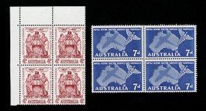 AUSTRALIA 1957 SCOTT #304-305 BLOCKS OF 4 MNH-OG