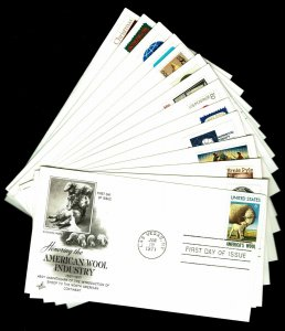1971 U.S. First Day Covers - Set of 14 Covers - CV$18.00 (ESP#038)