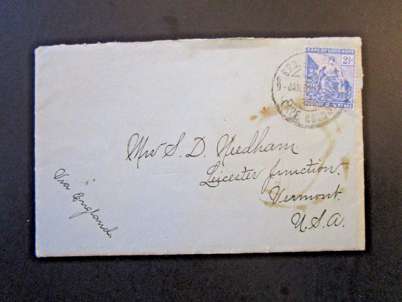 Cape of Good Hope 1901 Cover to USA w/ Enclosed Letter (III) - Z5354