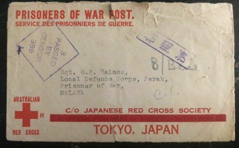 1940s Mundaring Australia To Malaya Japan POW Prisoner of War Camp Cover