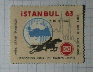 Istanbul Turkey Intl Stamp Exhibition 1963 Philatelic Souvenir Ad Label