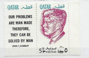 Qatar, MI: 121a, John F. Kennedy Ovpt. Red Single w/Label, **MNH**