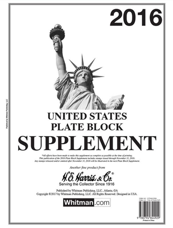 H E Harris US PLATE BLOCK Supplement for Stamp issued in 2016