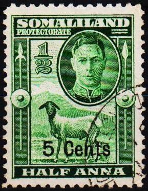 Somaliland Protectorate.1951 5c on 1/2a  S.G.125 Fine Used
