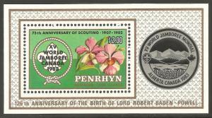PENRHYN ISLAND Sc# 222 MNH FVF Souvenir Sht Scouts
