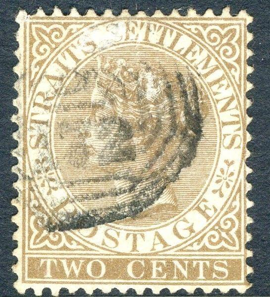 STRAITS SETTLEMENTS-1882 2c Brown Sg 50 FINE USED V18751