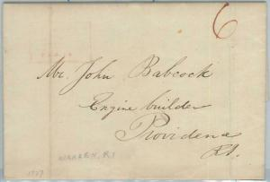 73744 -  UNITED STATES USA - PREPHILATELIC Cover:  WARREN, RI  1837