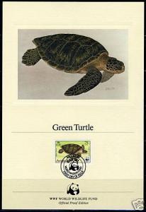 WORLD WILDLIFE FUND ANGUILLA TURTLE  '83  PROOF CARD