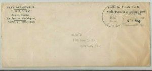 USS GUAM PG-43 Official Naval Cover 1935 HANKOW, CHINA