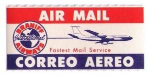 BRANIFF AIRLINES 1960 SCARCE VINTAGE AIR MAIL LABEL, CAT #USA-B-104