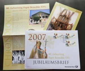 Germany 80th Birthday Of Pope XVI 2007 Religion (postcard + FDC)