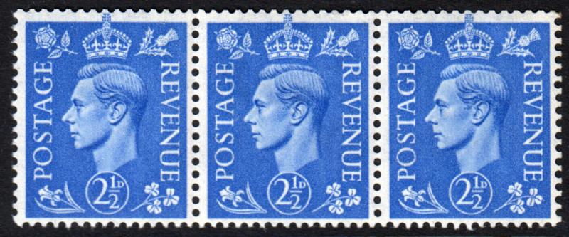 GB KGVI 1941 2.5d Light Ultramarine SG489 Block x 3 Mint Hinged