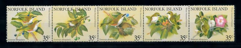 [90966] Norfolk Island 1981 Birds Vögel Oiseaux Strip of Five MNH