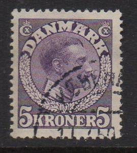 Denmark Sc 134 1920 5 K purple Christian X stamp used