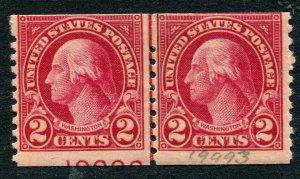 EFO (partial plate number) US # 599 2¢ Washington line pair LP