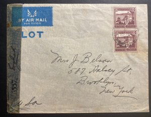 1944 New Tziora Palestine Airmail Censored Cover To Brooklyn NY USA