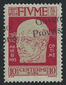 1921 Fiume, N° 176e 10 Cent. Carmin Mlh / Overprint Sideways