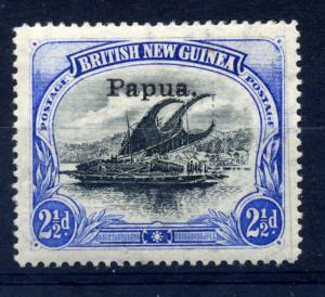 Papua 1907 sg 35 2 1/2d ultram & blk, wmk hrz, frame break top rt, LM